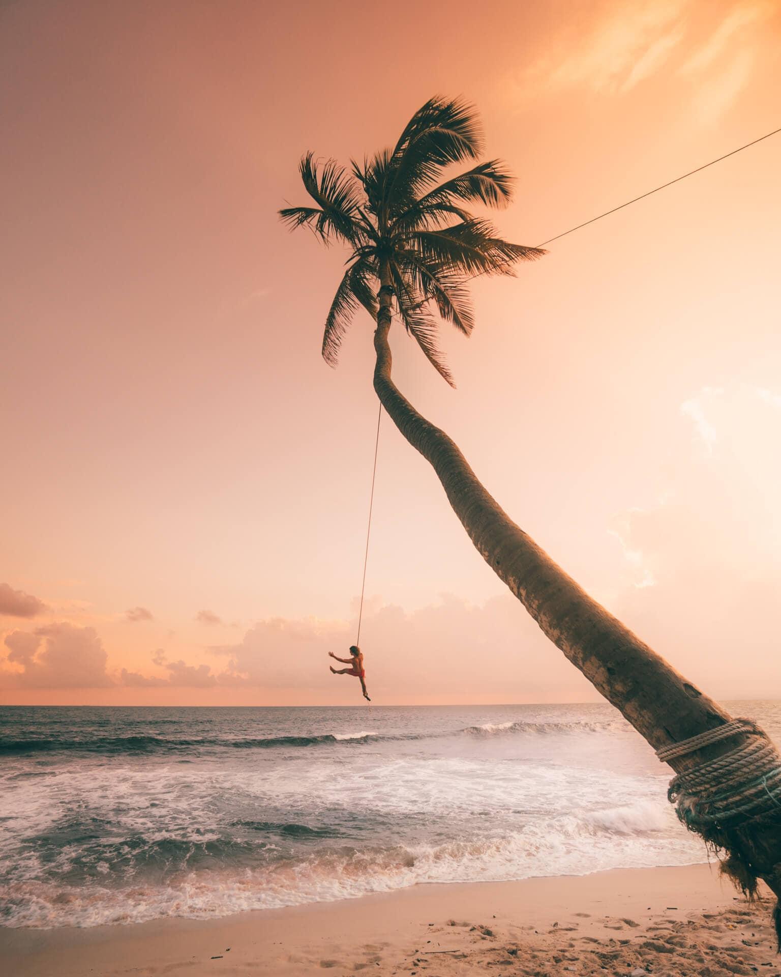 sri lanka beaches unawatuna palm swing