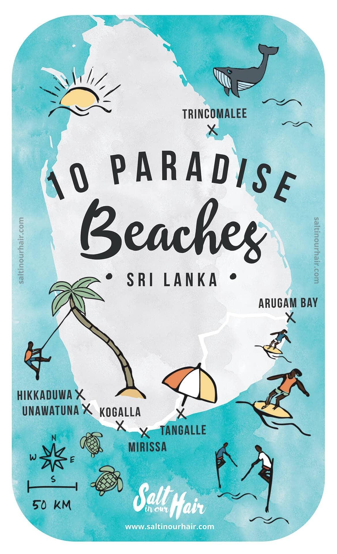 Sri lanka beaches map