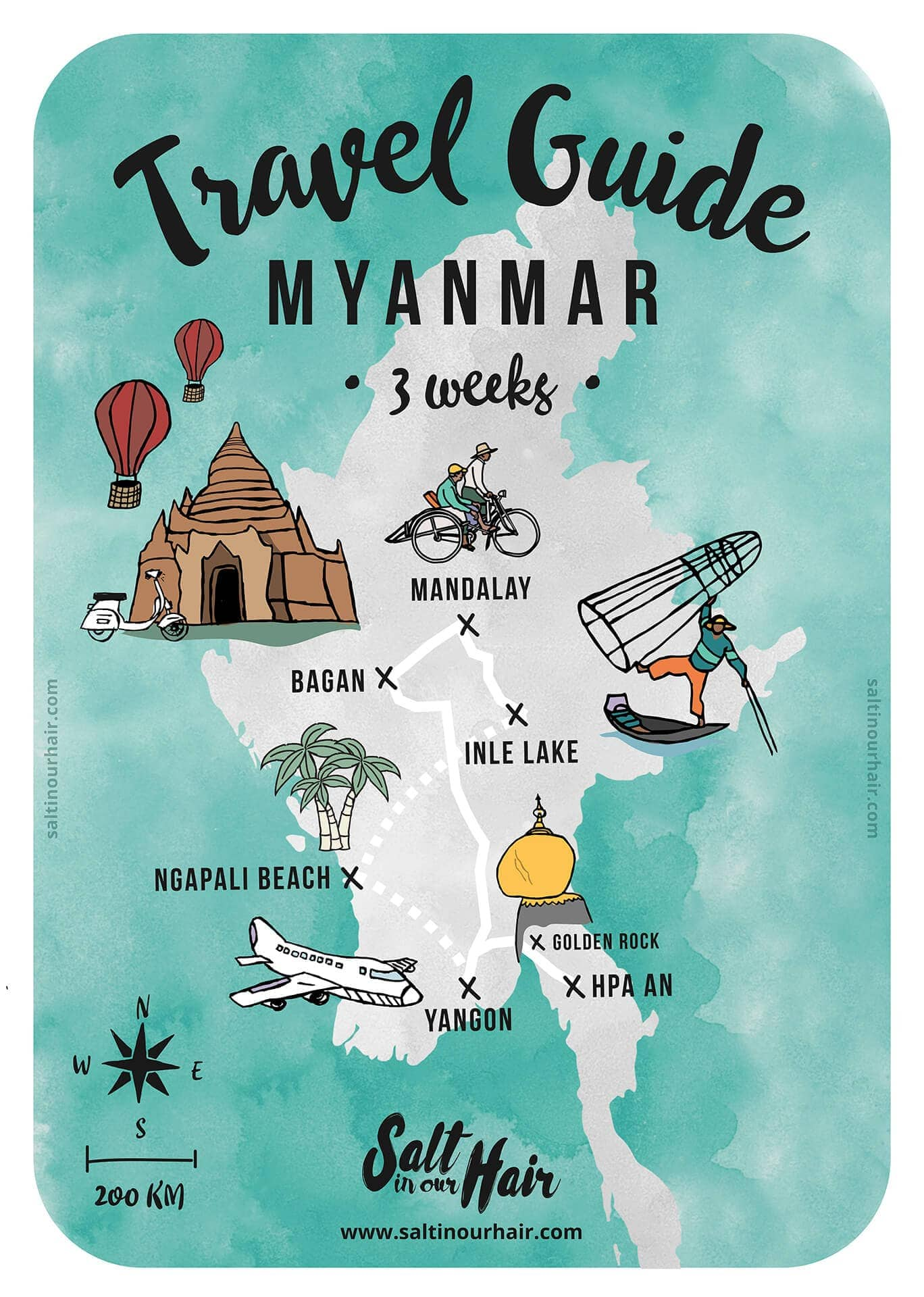 myanmar travel guide route map