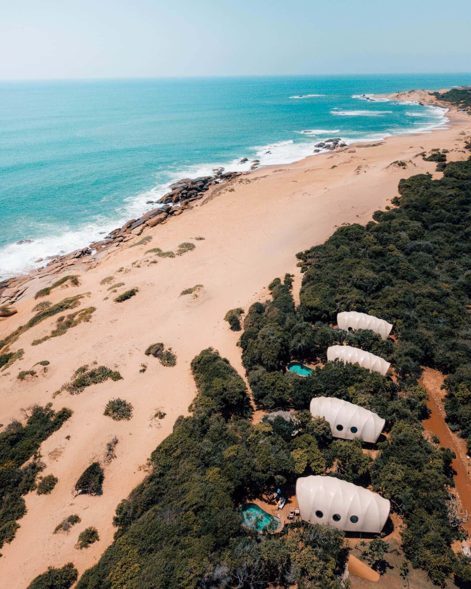 yala national park wild coast tented pool lodge drone