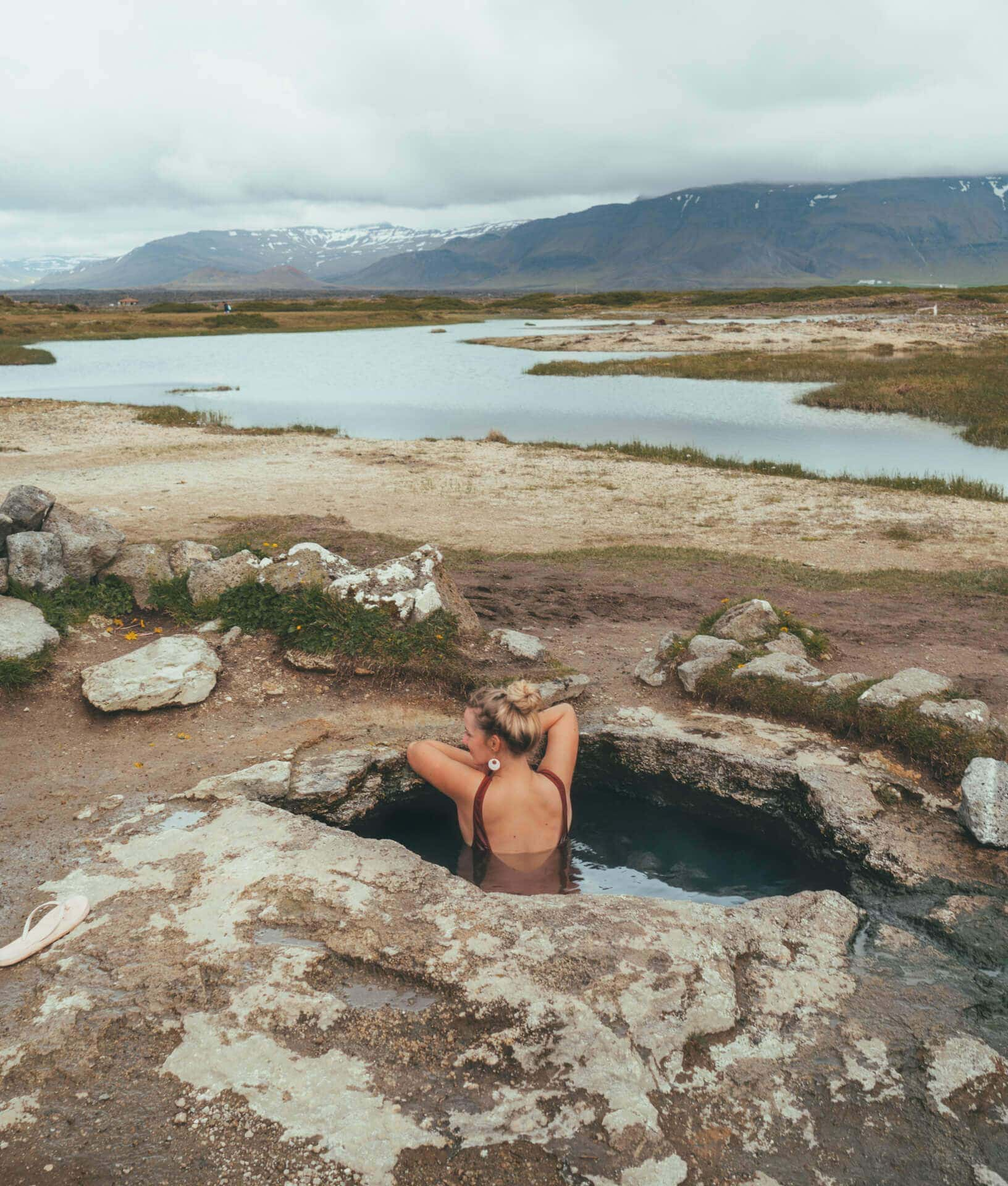 camping in iceland hot spring