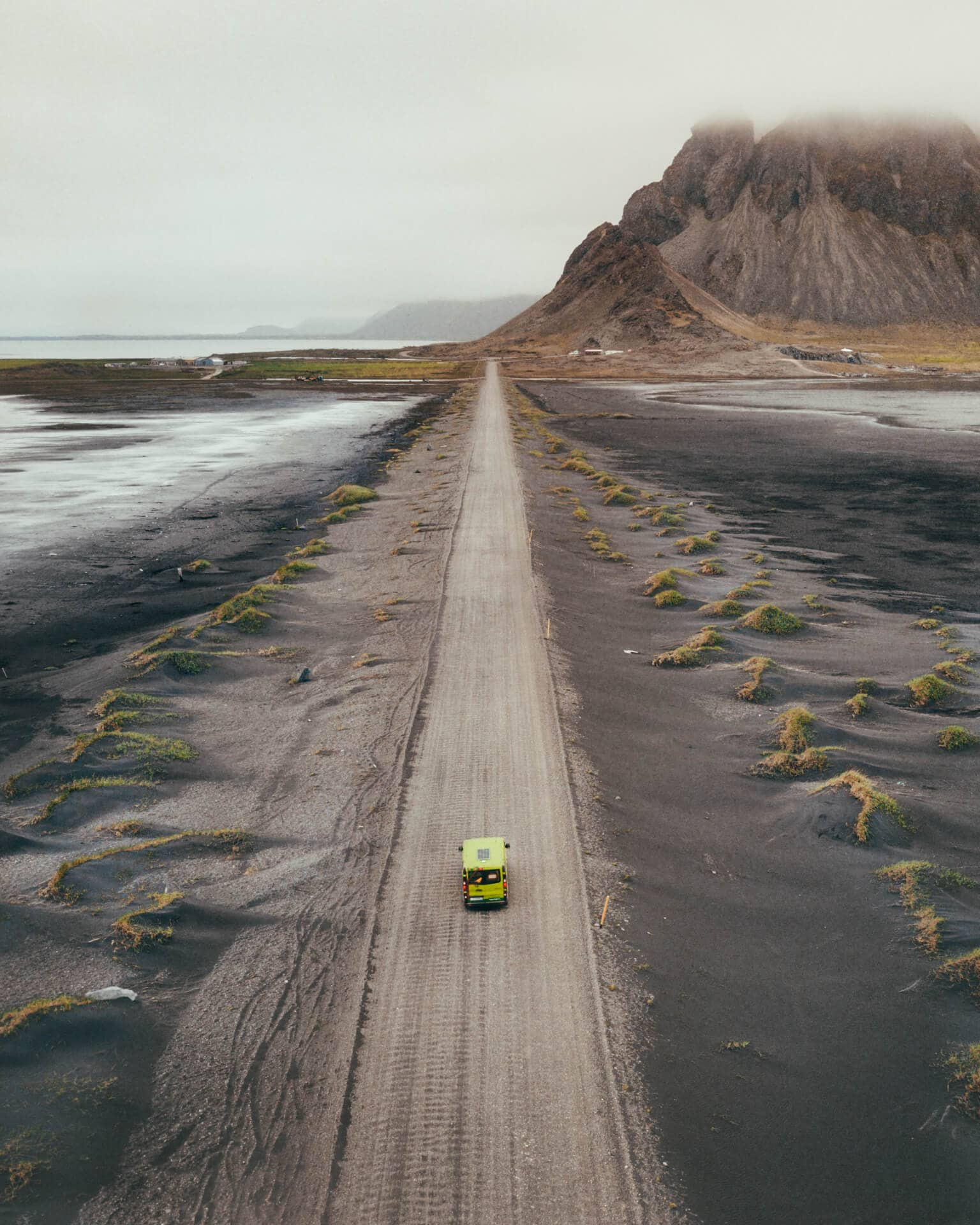 camping in iceland road drone