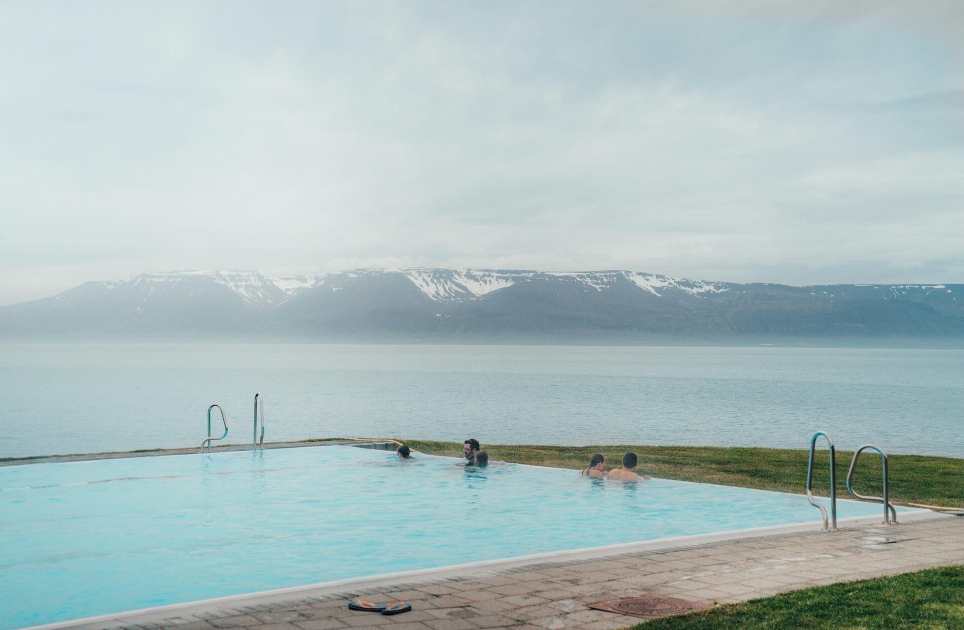 campsites iceland infinity pool hofsos