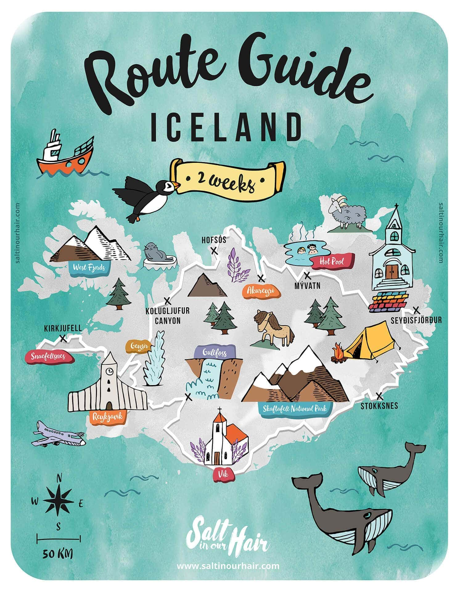 iceland route guide map