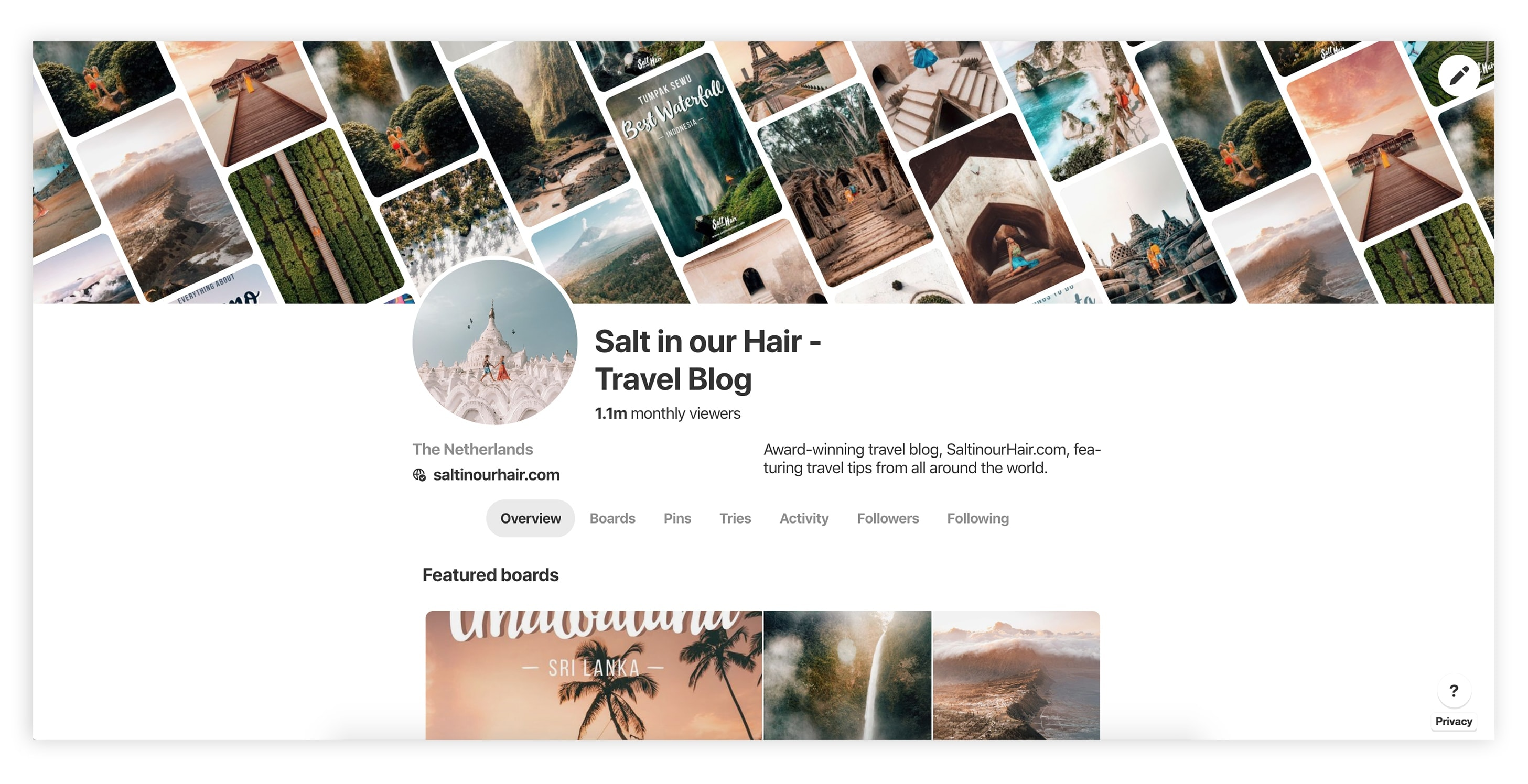 start a travel blog pinterest traffic