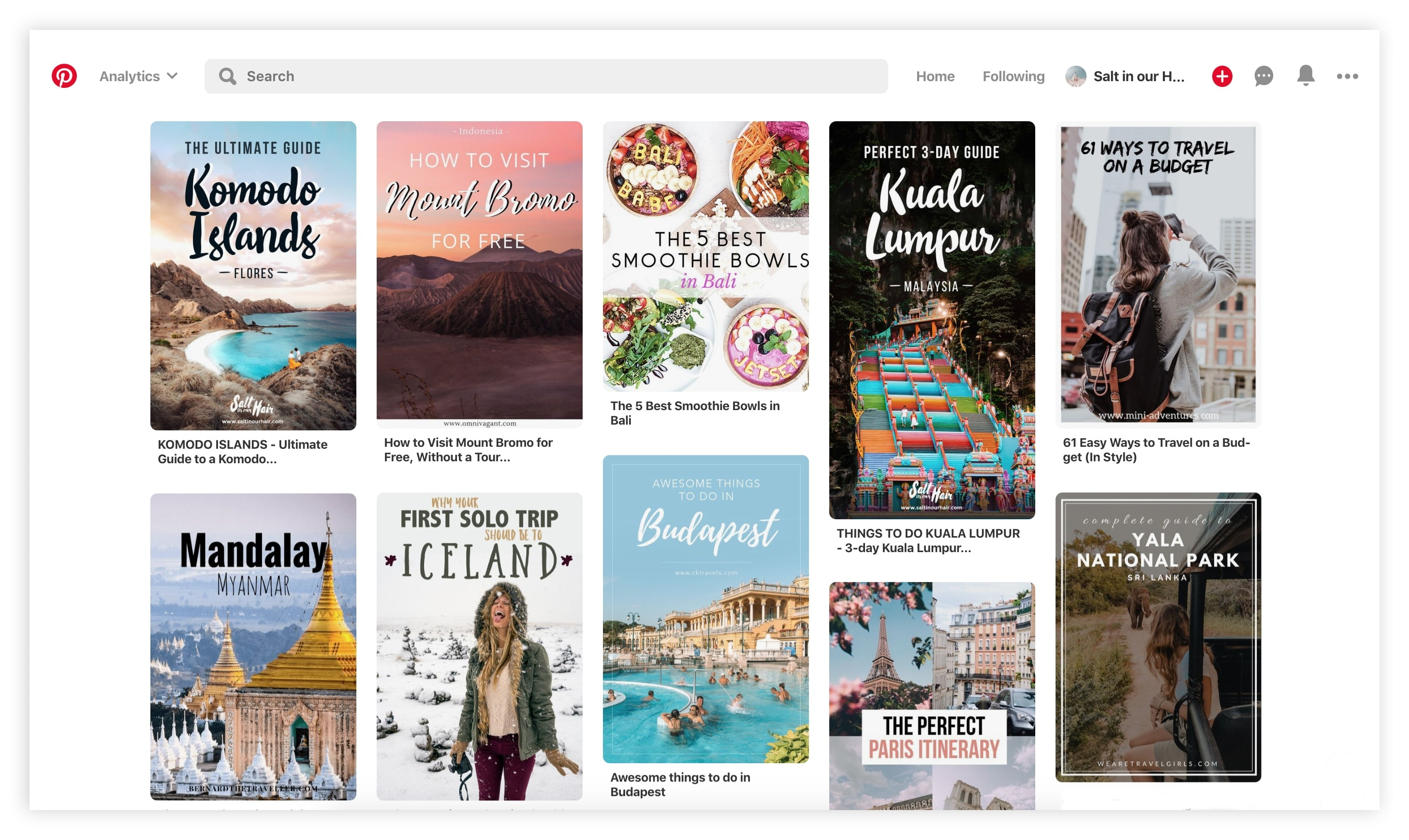 start a travel blog pinterest