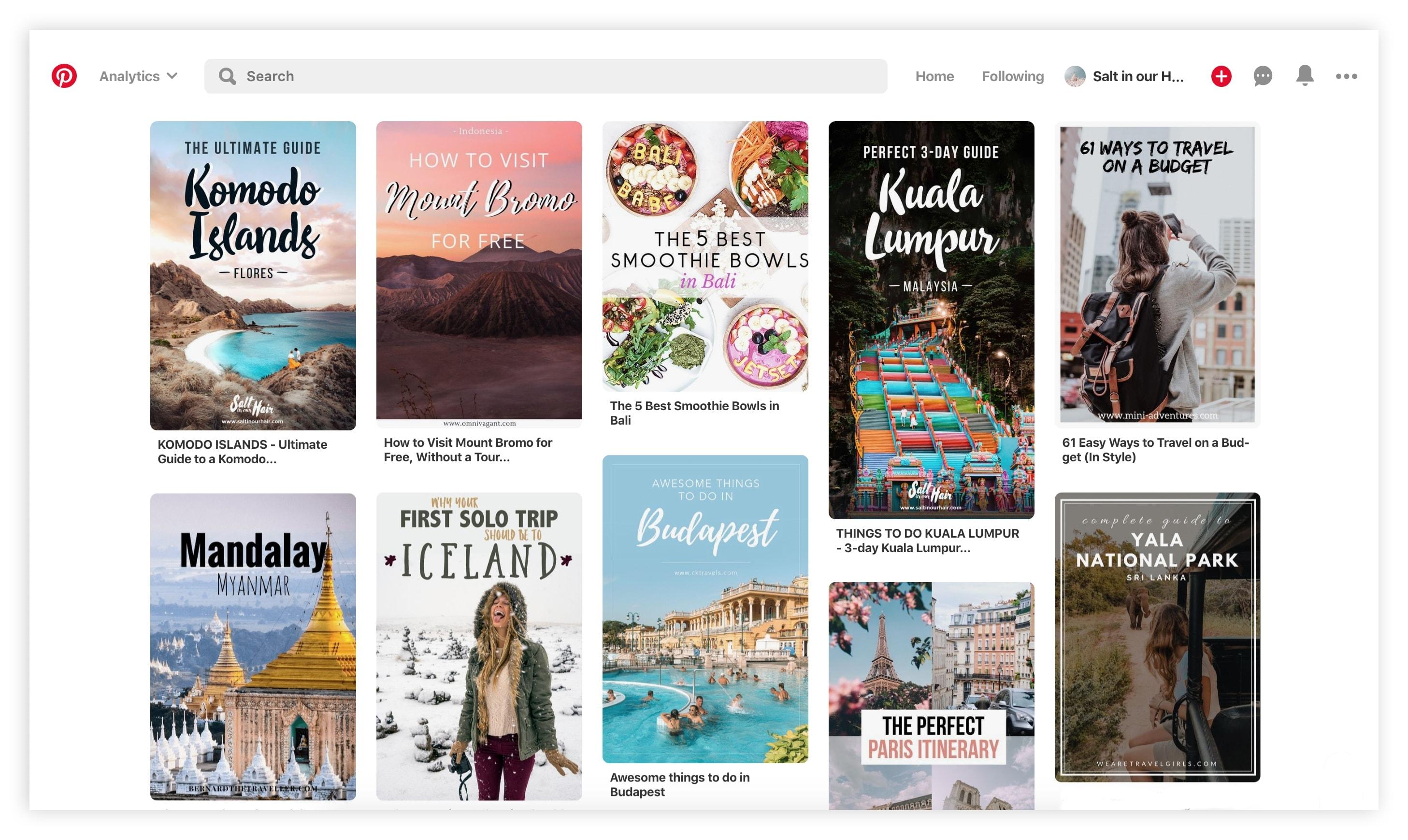 start a travel blog pinterest