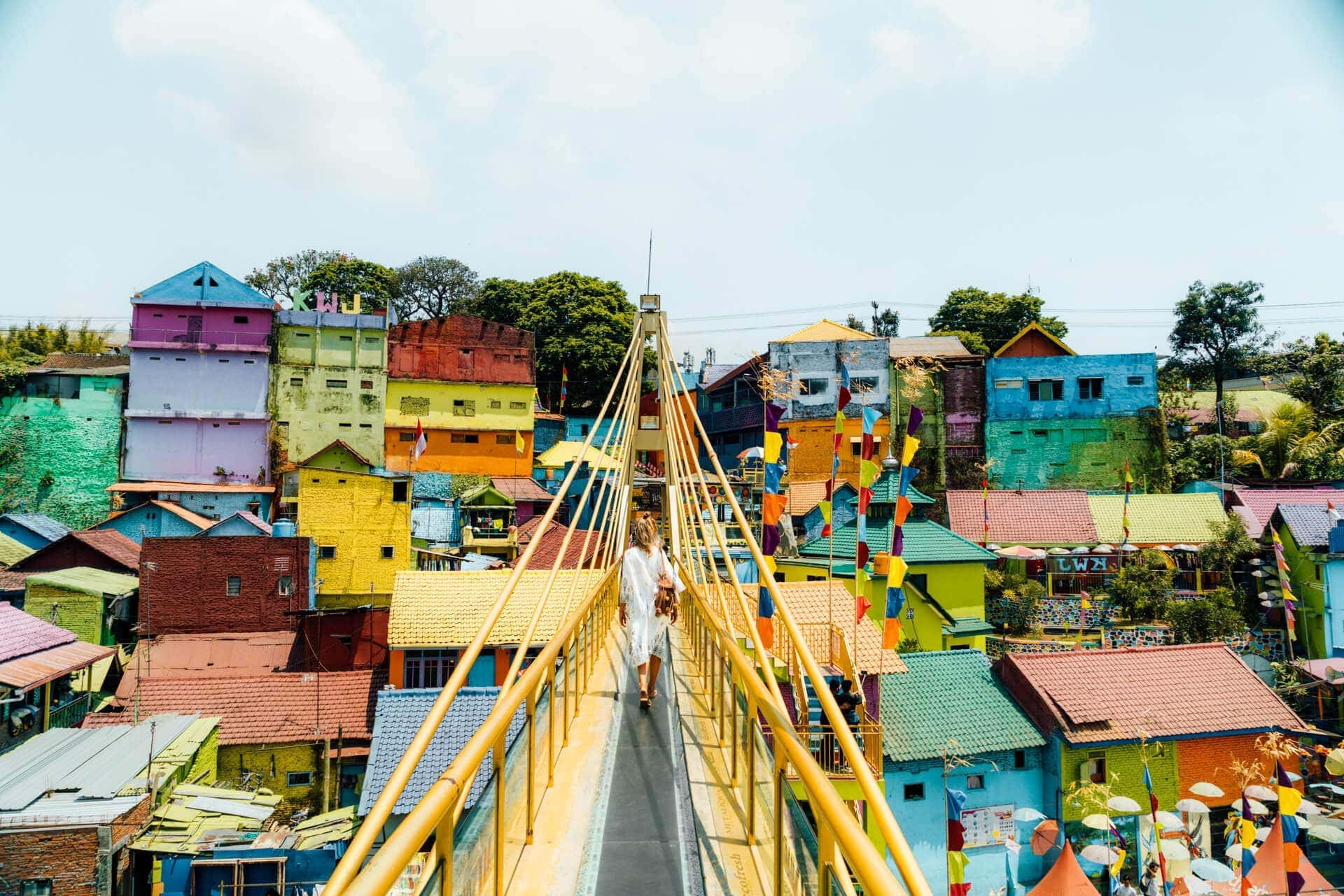 colorful village jodipan malang java bridge
