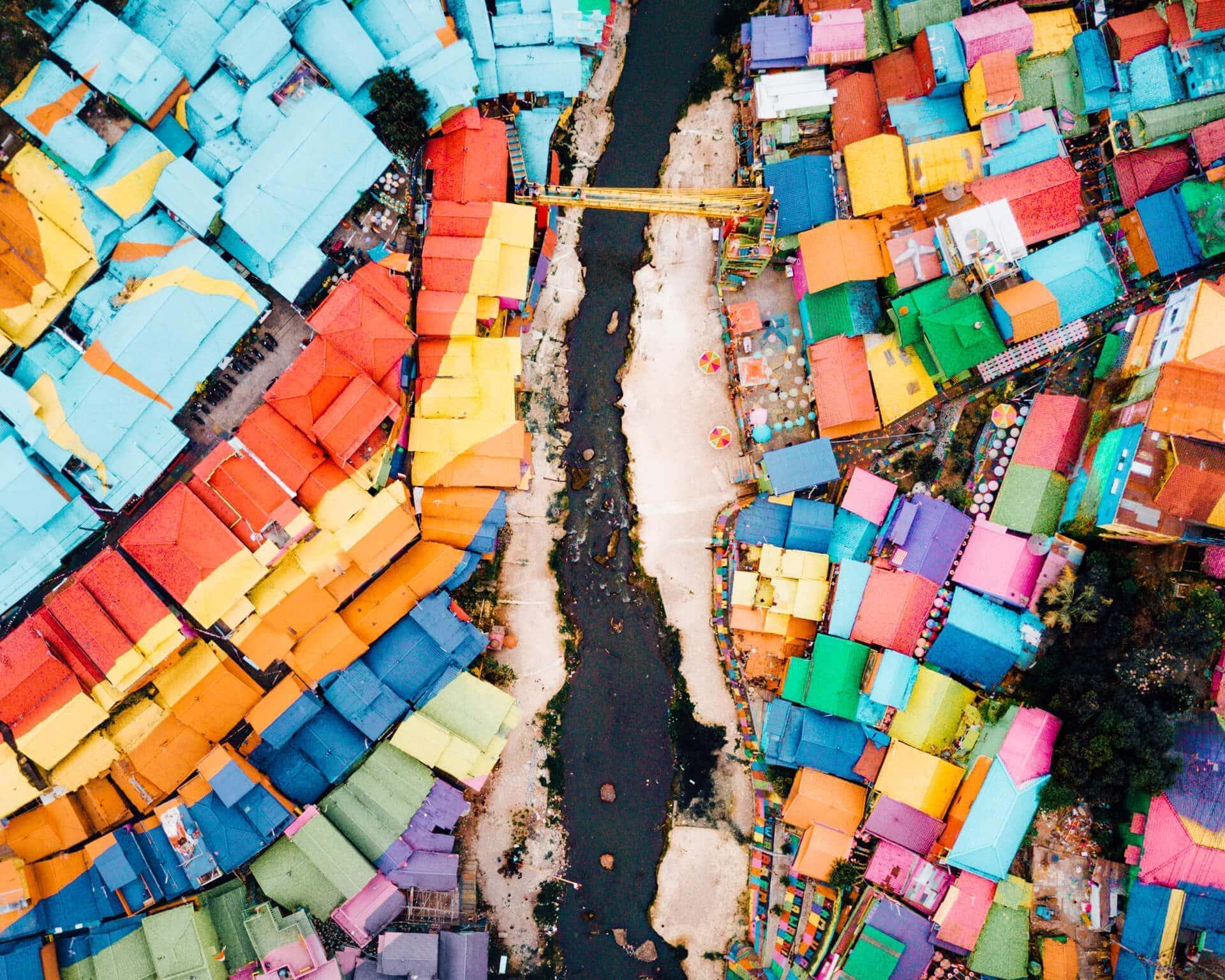 colorful village jodipan malang java drone