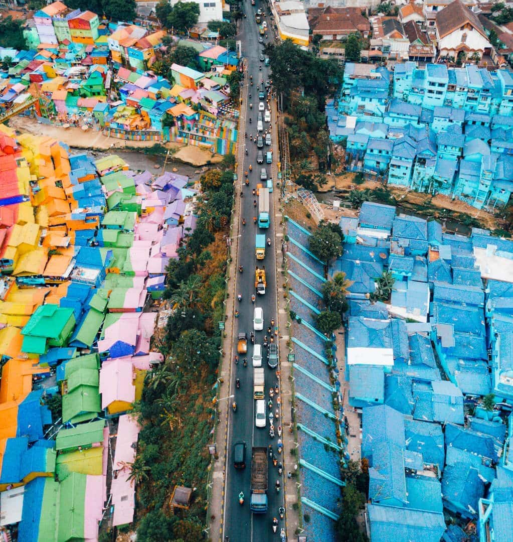 colorful village malang java drone