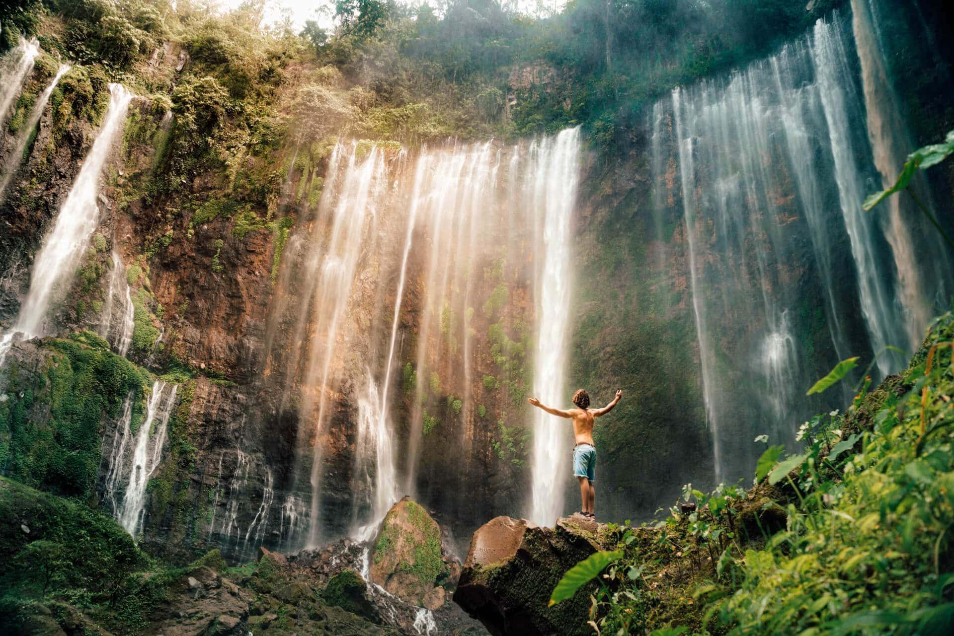 tumpak sewu best waterfall indonesia java foot