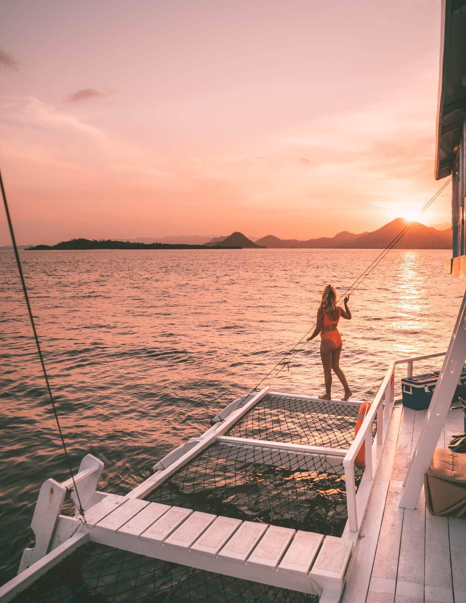 komodo islands flores sunset boat