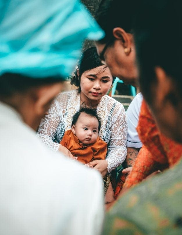 bali stay with locals ceremony baby