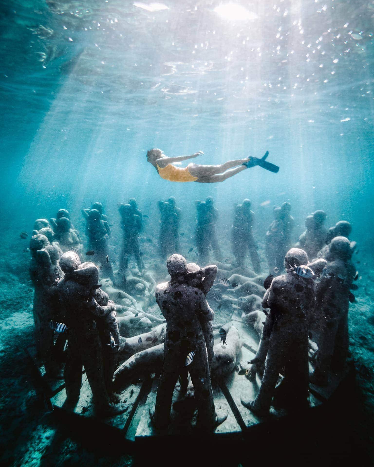 gili snorkeling underwater sculptures