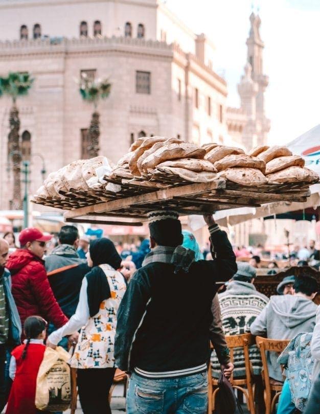 Khan El-Khalili souk bread market cairo